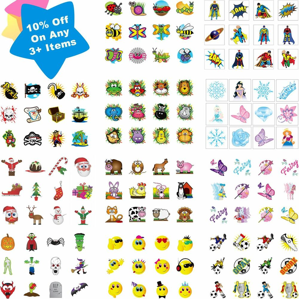 Childrens 36 temporary tattoos kids party bag christmas for Tattoo for kid