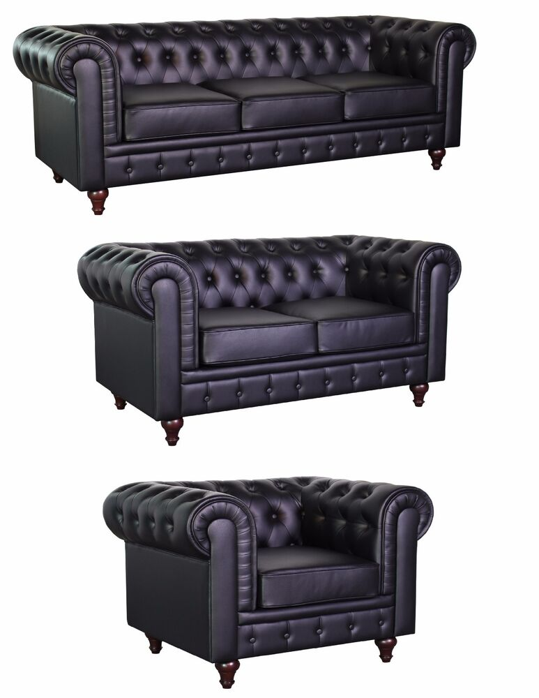chesterfield black bonded leather tufted buttons scroll arms sofa 5 sizes option ebay. Black Bedroom Furniture Sets. Home Design Ideas