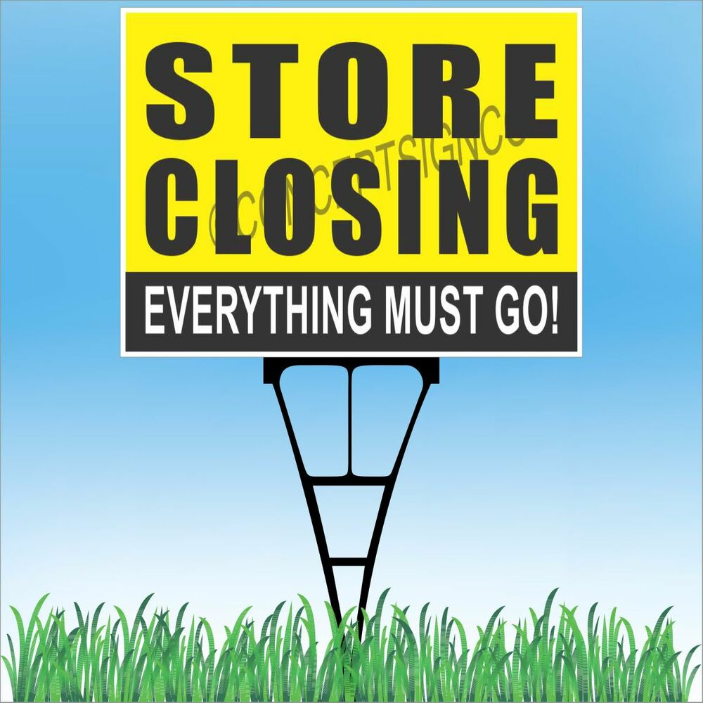 """Landscape Commercial Sign: 18""""x24"""" STORE CLOSING Outdoor Yard Sign & Stake Sidewalk Lawn Business Big Sales"""