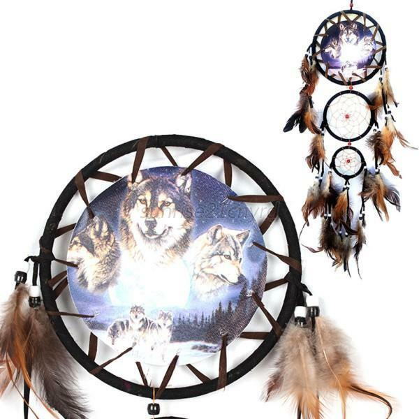 dreamcatcher wolves feathers white - photo #17