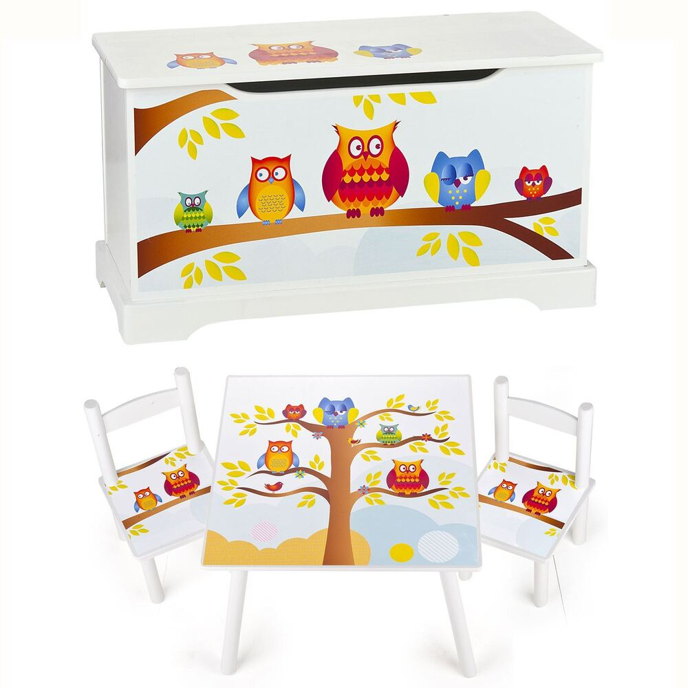 Owls wooden bedroom furniture toy boxes and kids table for Bedroom table and chairs