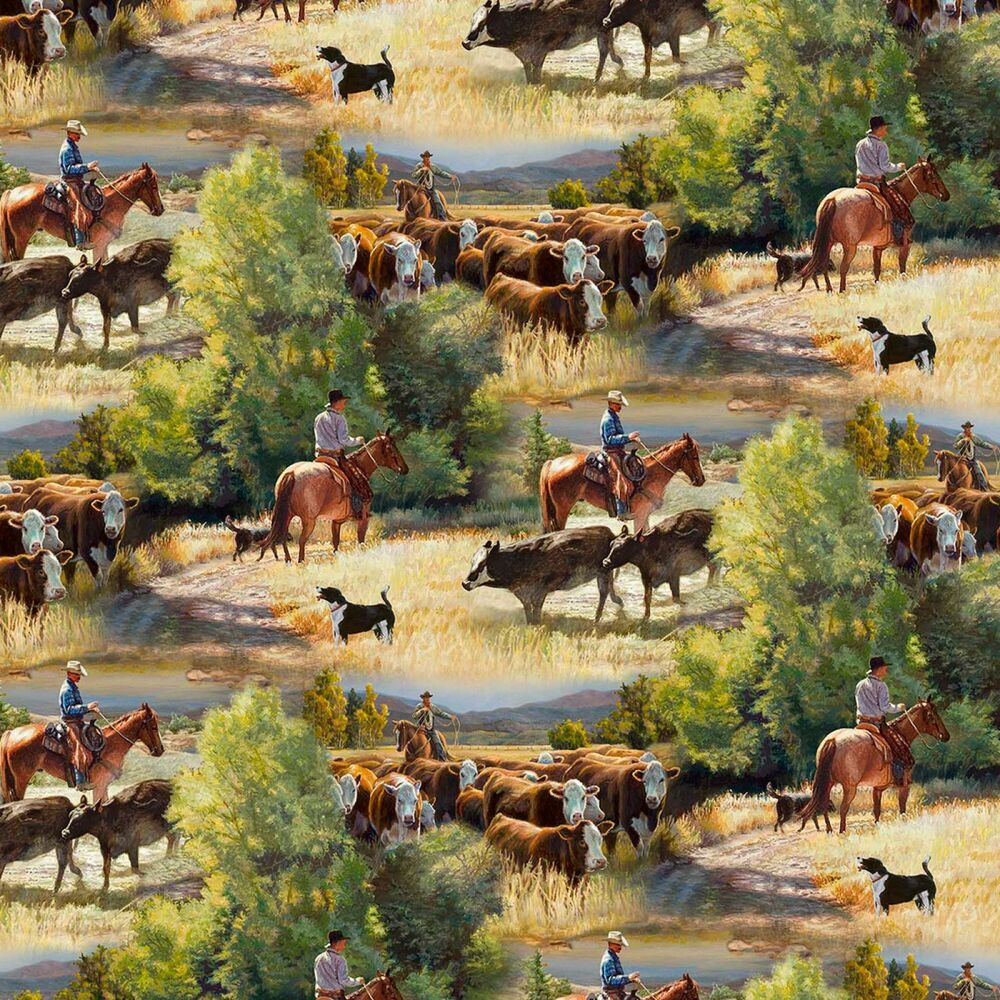 Fabric Western Cowboys Cattle Drive On Cotton By The 1 4