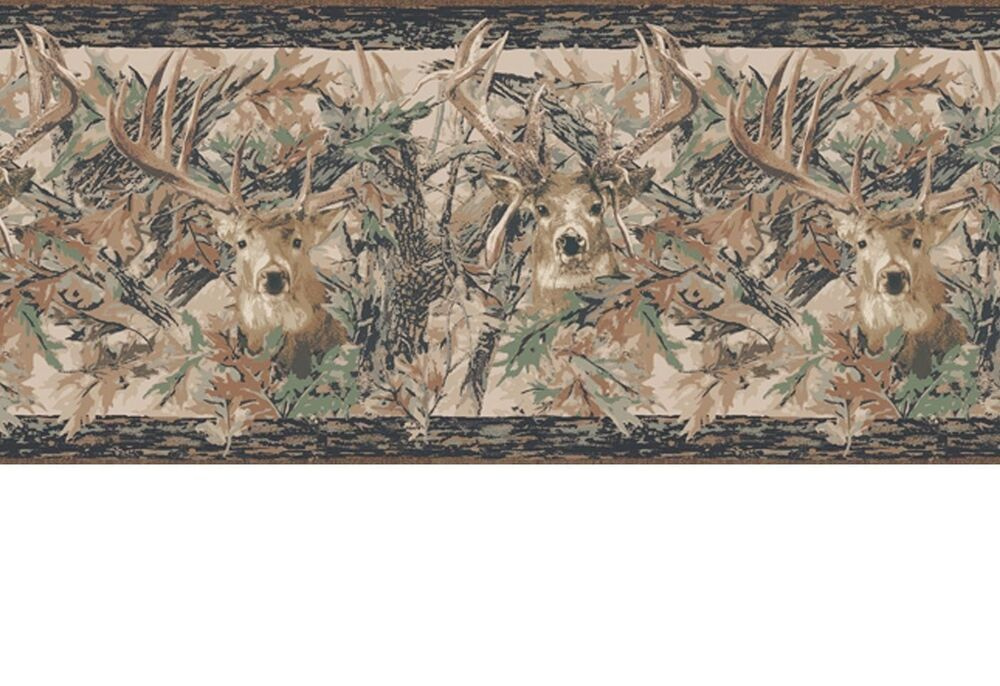 Camouflage Forest Lodge Two Kings Deer Head Border Camo