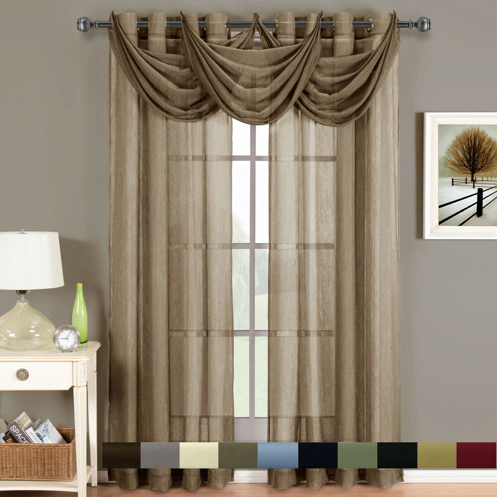 Elegant Kitchen Curtains Valances: Abri Grommet Crushed Sheer Elegant Window Waterfall
