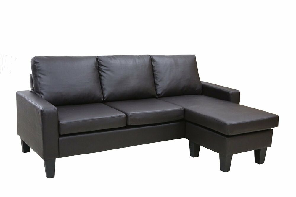 Brown leather sectional sofa w reversible chaise lounge for Brown couch with chaise