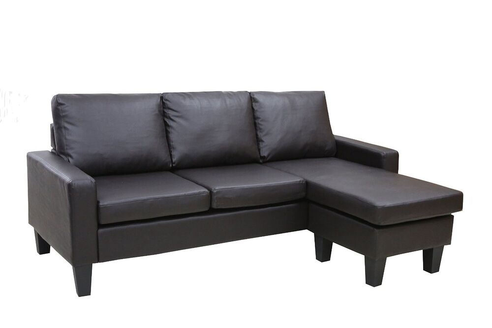 Brown leather sectional sofa w reversible chaise lounge for Brown leather sofa with chaise lounge
