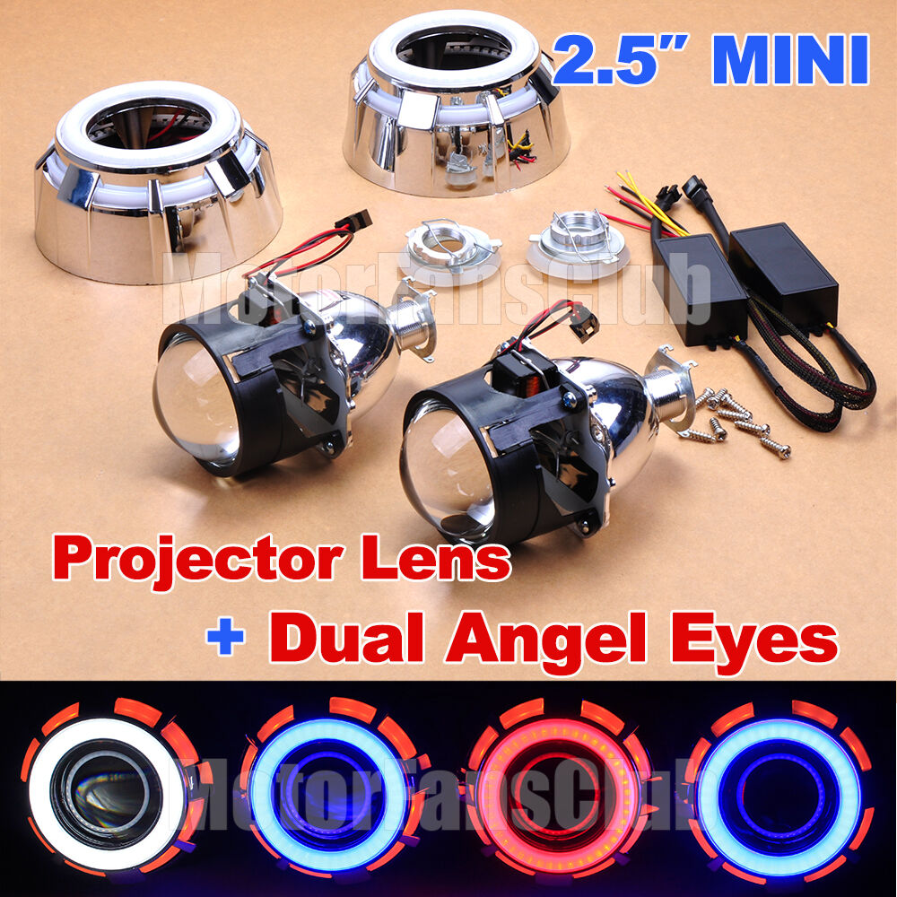 2 5 hid bi xenon projector lens kit car headlight lamp led dual angel eyes halo ebay. Black Bedroom Furniture Sets. Home Design Ideas