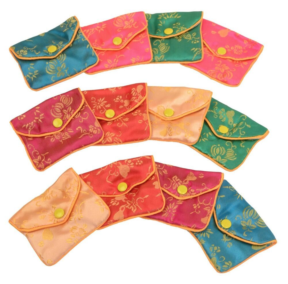 Details about Silk Jewelry Chinese Pouch Bag Roll FOUR DOZEN Colors - 3