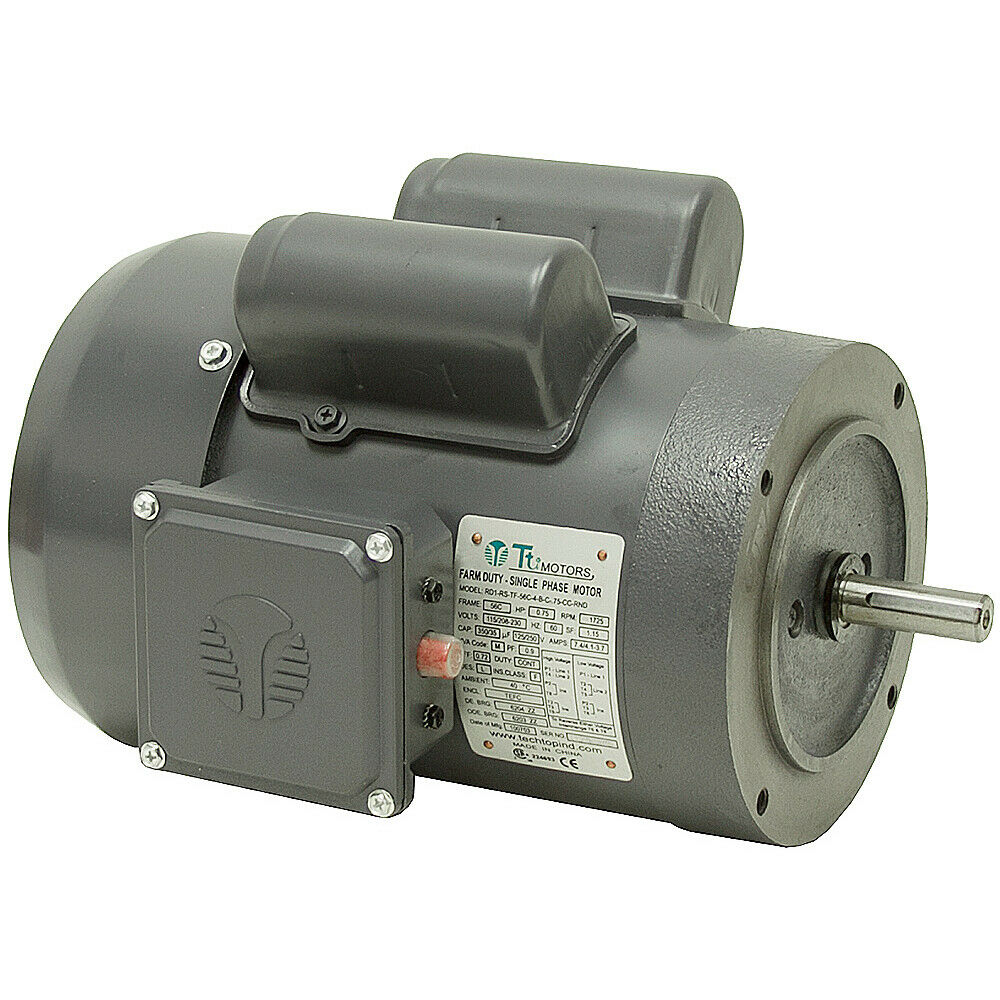 3 4 hp 1725 rpm 115 230 volt ac 56c frame tefc farm duty for 1 3 hp motor