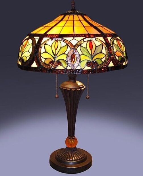 Decorative Lamp Shades : Tiffany style glass sunrise table lamp lamps shade