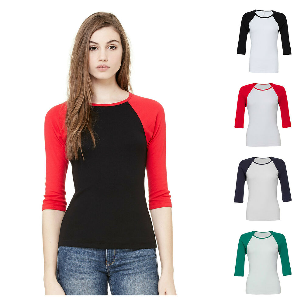 Womens ladies 3 4 sleeve raglan baseball casual t shirt for Women s broadcloth shirts