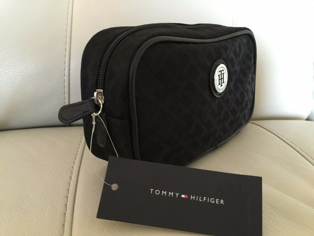 Tommy Hilfiger Monogram Black Cosmetic Bag Case Toiletry