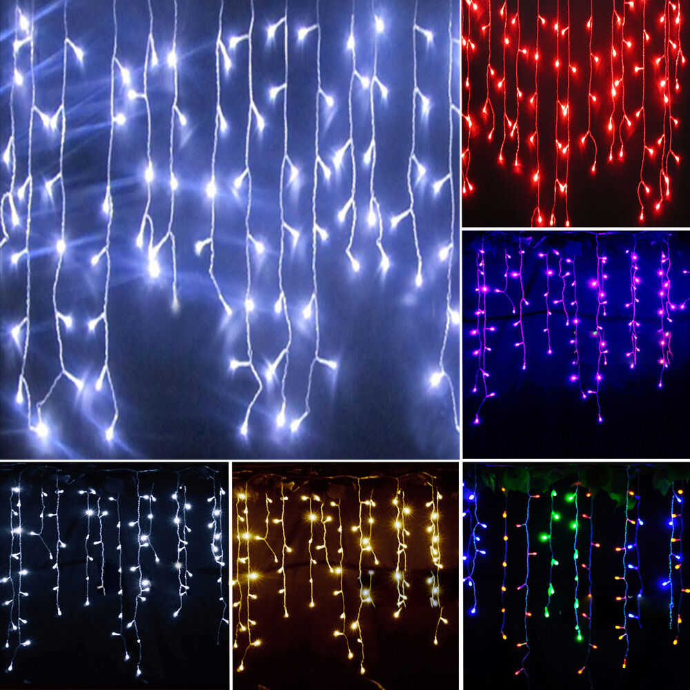 Icicle Hanging Snowing Curtain Lights Outdoor Fairy Christmas LED ...