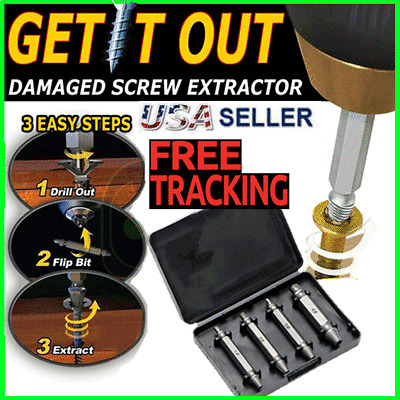 4pc Broken Bolt Damage Screw Remover Extractor Drill Bits Easy Out Stud Reverse