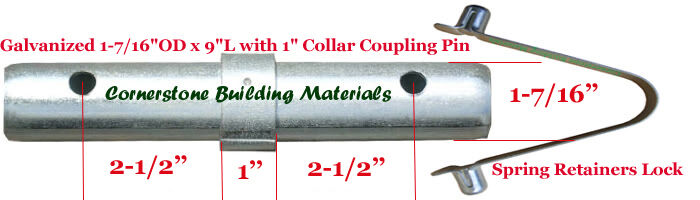 Scaffolding Snap Pin : Three scaffold coupling pin quot od l with collar