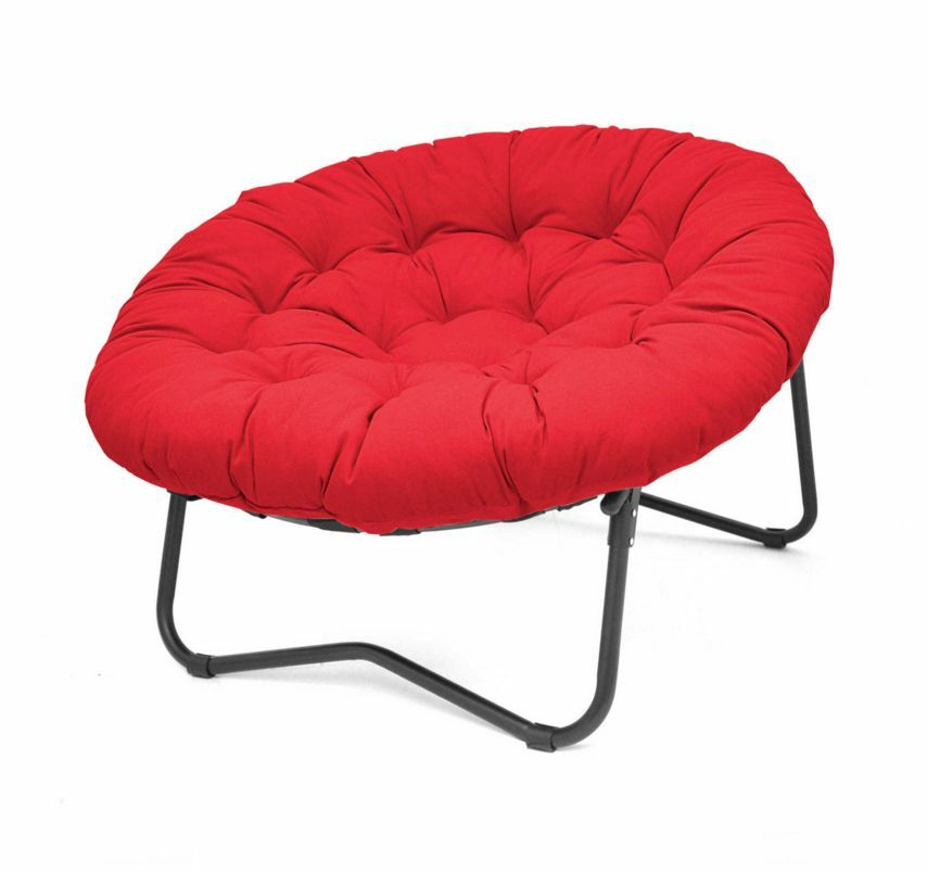 Red Foldable Folding Oversized Papasan Round fortable Cushion Lounge Chair