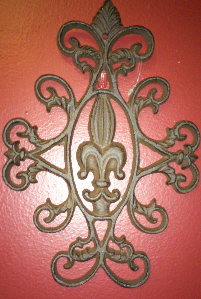 Cute Cast Iron Scroll Fleur De Lis Wall Decor Plaque 9 3