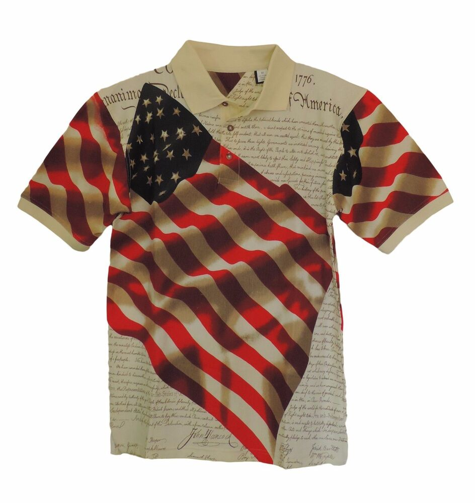 cotton traders american flag declaration short sleeve polo
