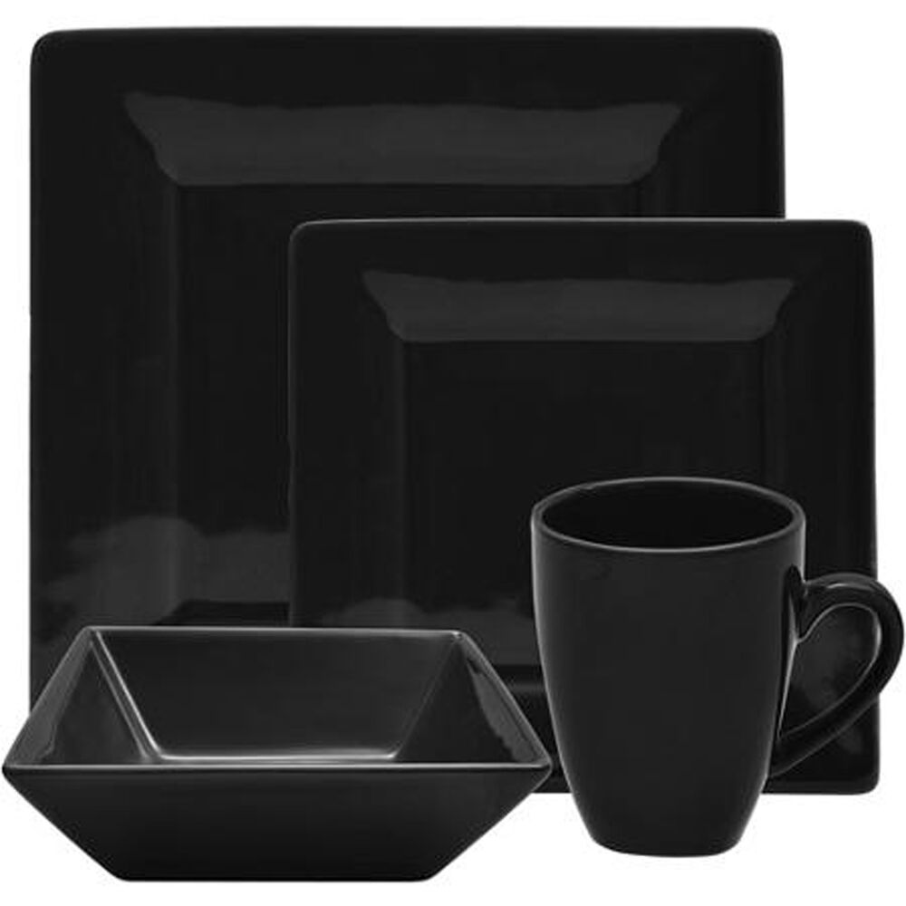 black dinnerware set square 16 piece dinner plates cups