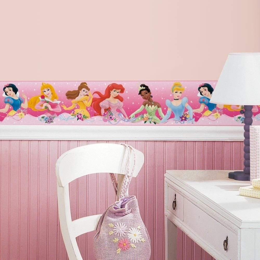 New Pink Disney PRINCESS BORDER Wallpaper Wall Decals Girls ...