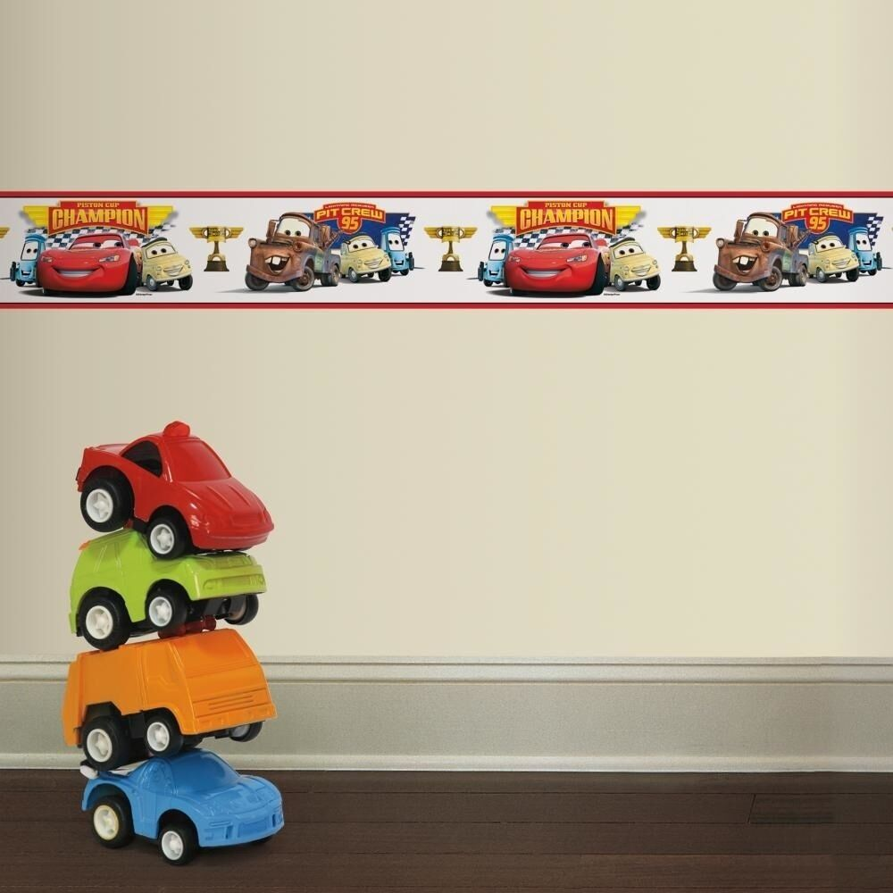 Disney cars piston cup champions wall border lightning for Art and decoration