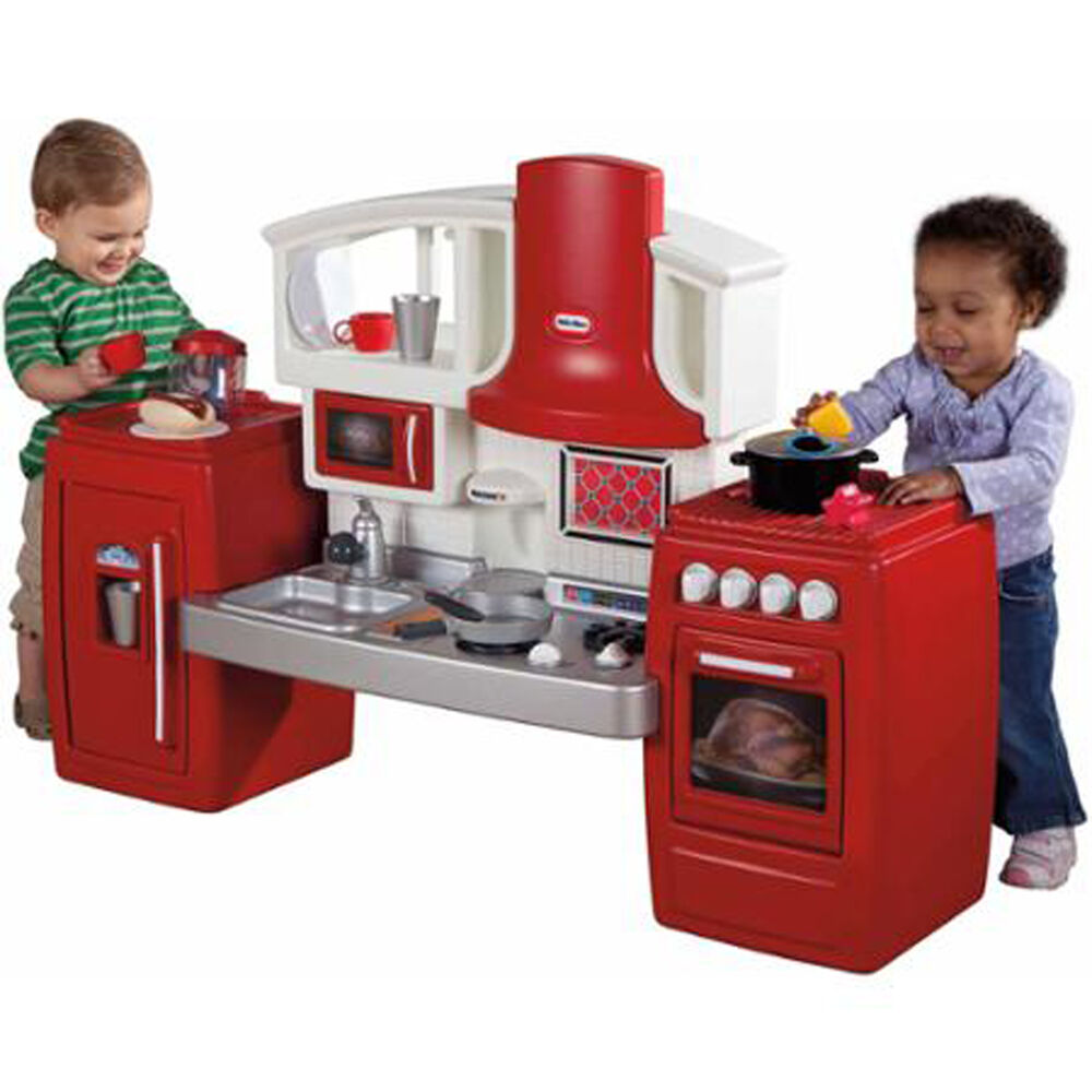 Kids play kitchen pretend toy toddler red plastic cooking for Kitchen kitchen set