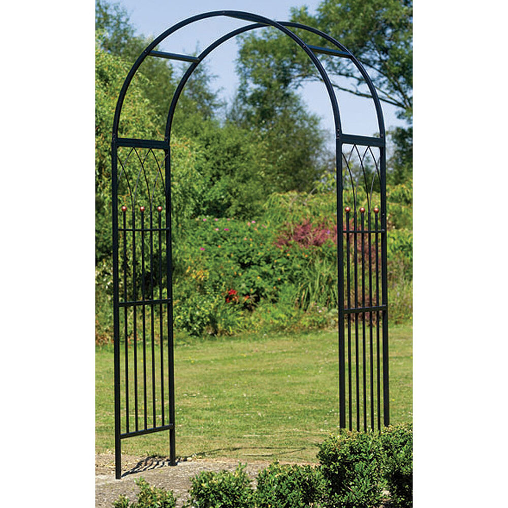 metal garden arch steel arbor westminster frame black yard decor iron door style ebay. Black Bedroom Furniture Sets. Home Design Ideas