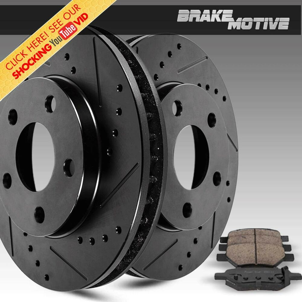 Front Black Drilled Slotted Brake Rotors Ceramic Pads