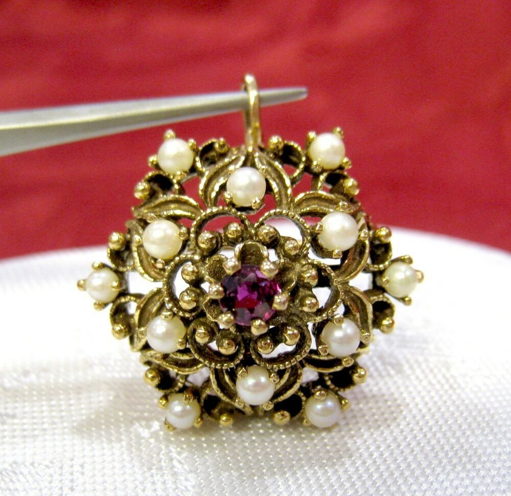 Antique 14k Yellow Gold Filigree Amethyst And Pearl Brooch