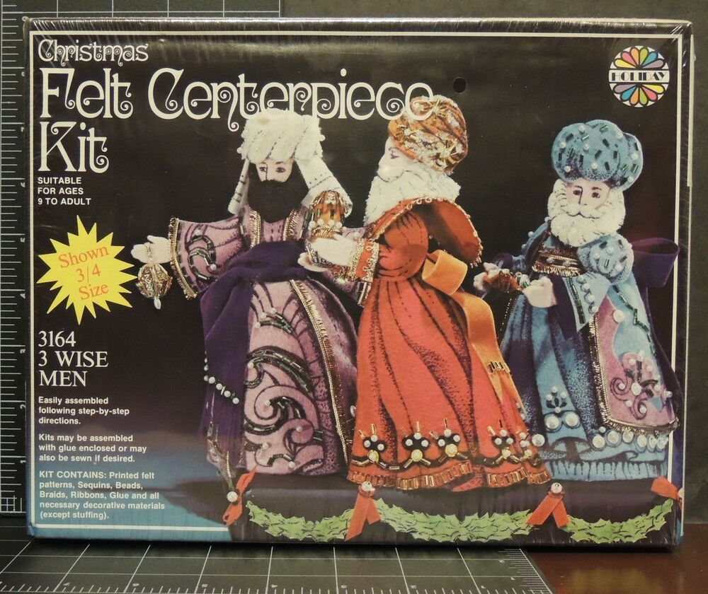 Wise men christmas felt centerpiece kit vintage arts