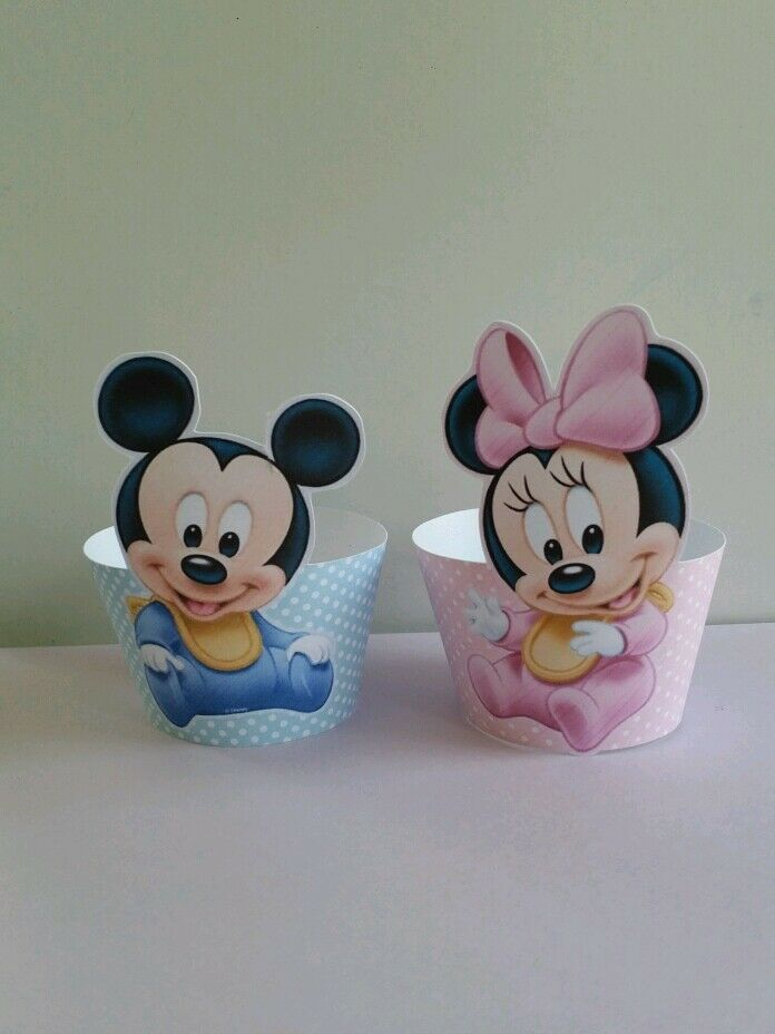 24 baby mickey and baby minnie mouse cupcake wrappers | eBay