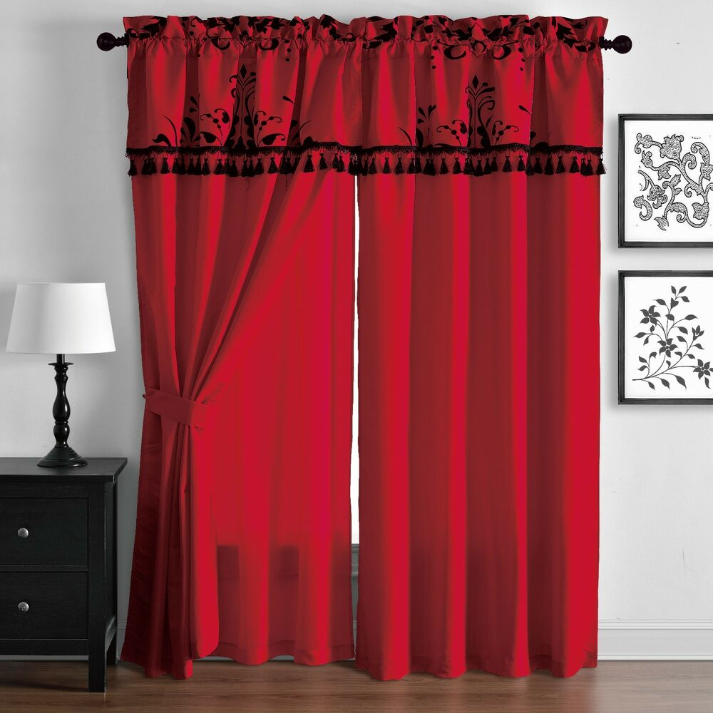 Violeta Red Ground With Black Floral Flocking Window