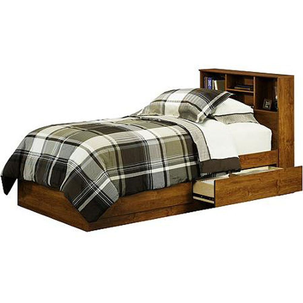 Twin bed with storage drawers dorm teens wood alder for Double bed with drawers and mattress