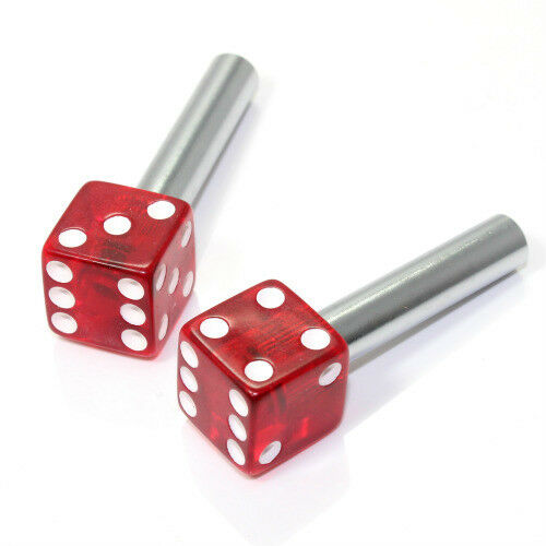2 Clear Red Dice Interior Door Lock Knobs Pins For Car