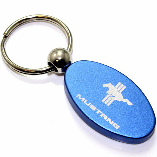Blue Aluminum Metal Oval Ford Mustang Logo Key Chain Fob