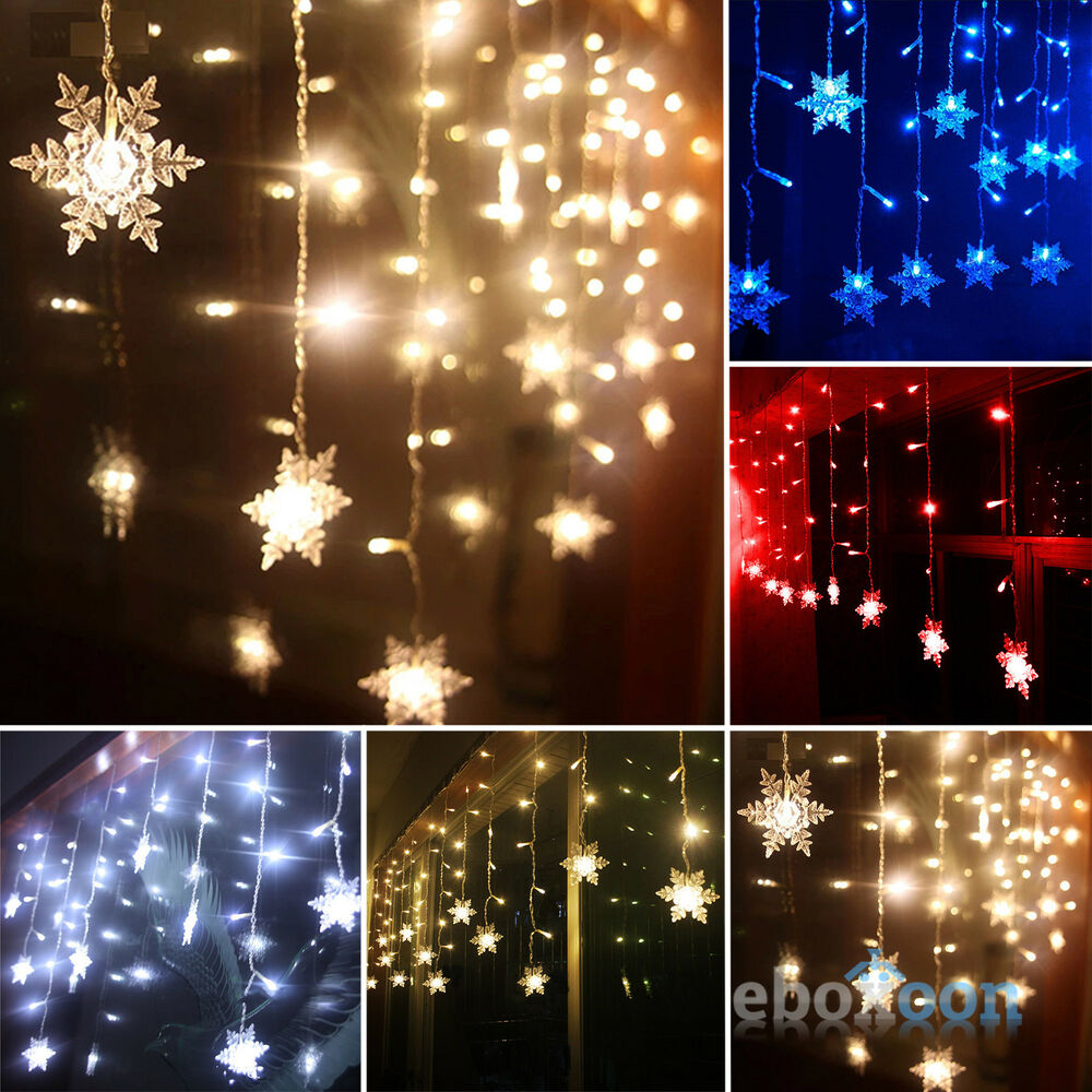 Christmas Led Snowflake Tree Hanging Curtain Fairy Lights