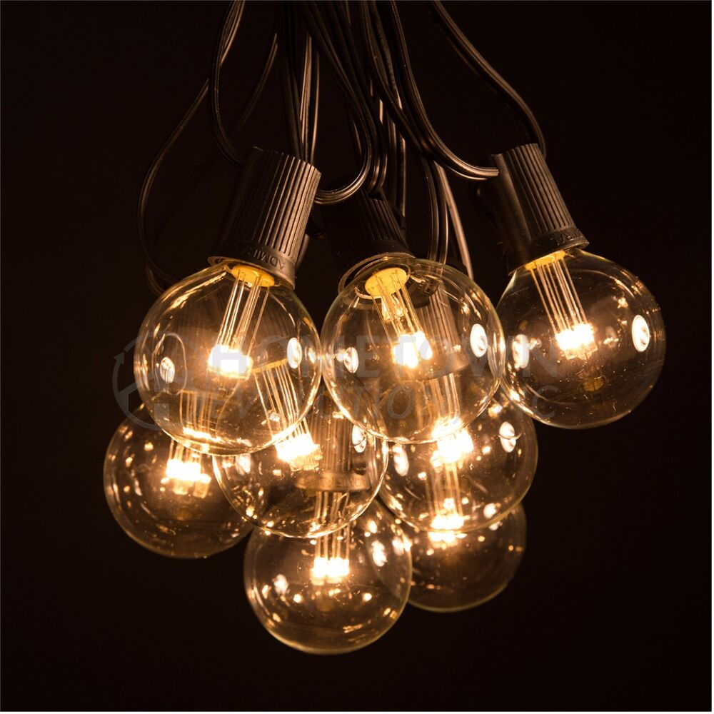 Newhouse Lighting 48 Foot Outdoor String Lights Led Bulbs: 50 Foot LED Warm White Globe String Lights