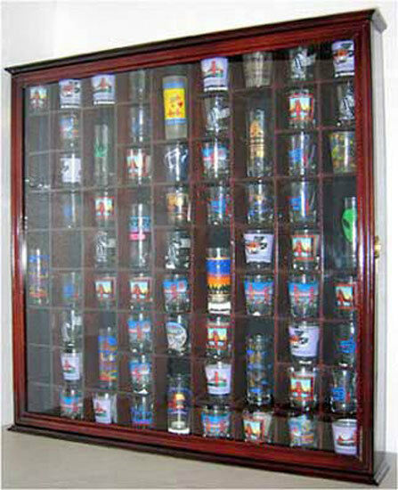 71 Shot Glass Display Case Wall Cabinet Shadow Box ...