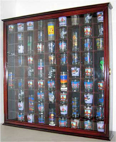 71 Shot Glass Display Case Wall Cabinet Solid Wood