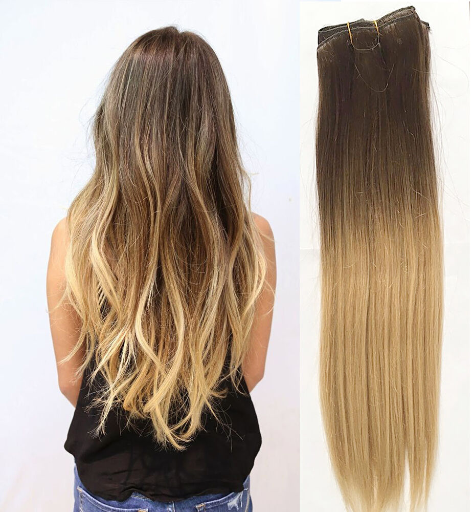 full head clip in human hair extensions remy ombre dip dye straight 18 blonde ebay. Black Bedroom Furniture Sets. Home Design Ideas
