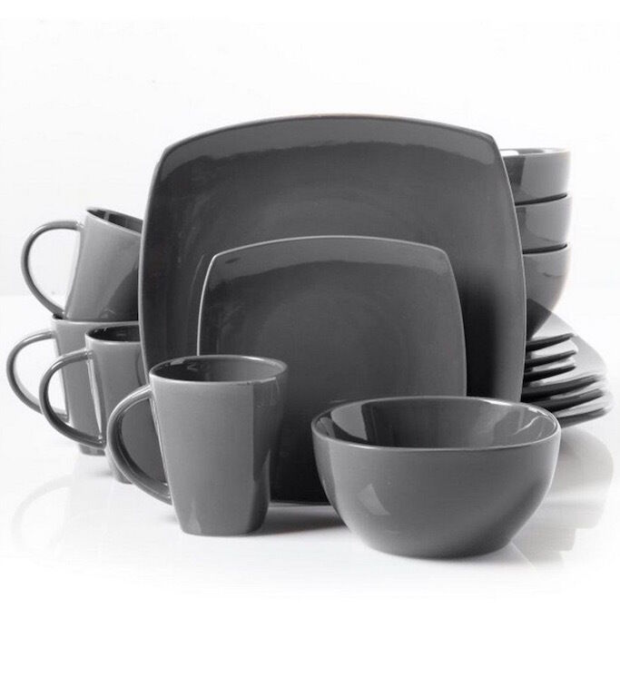 48 piece gray dinnerware set square dining plates dishes