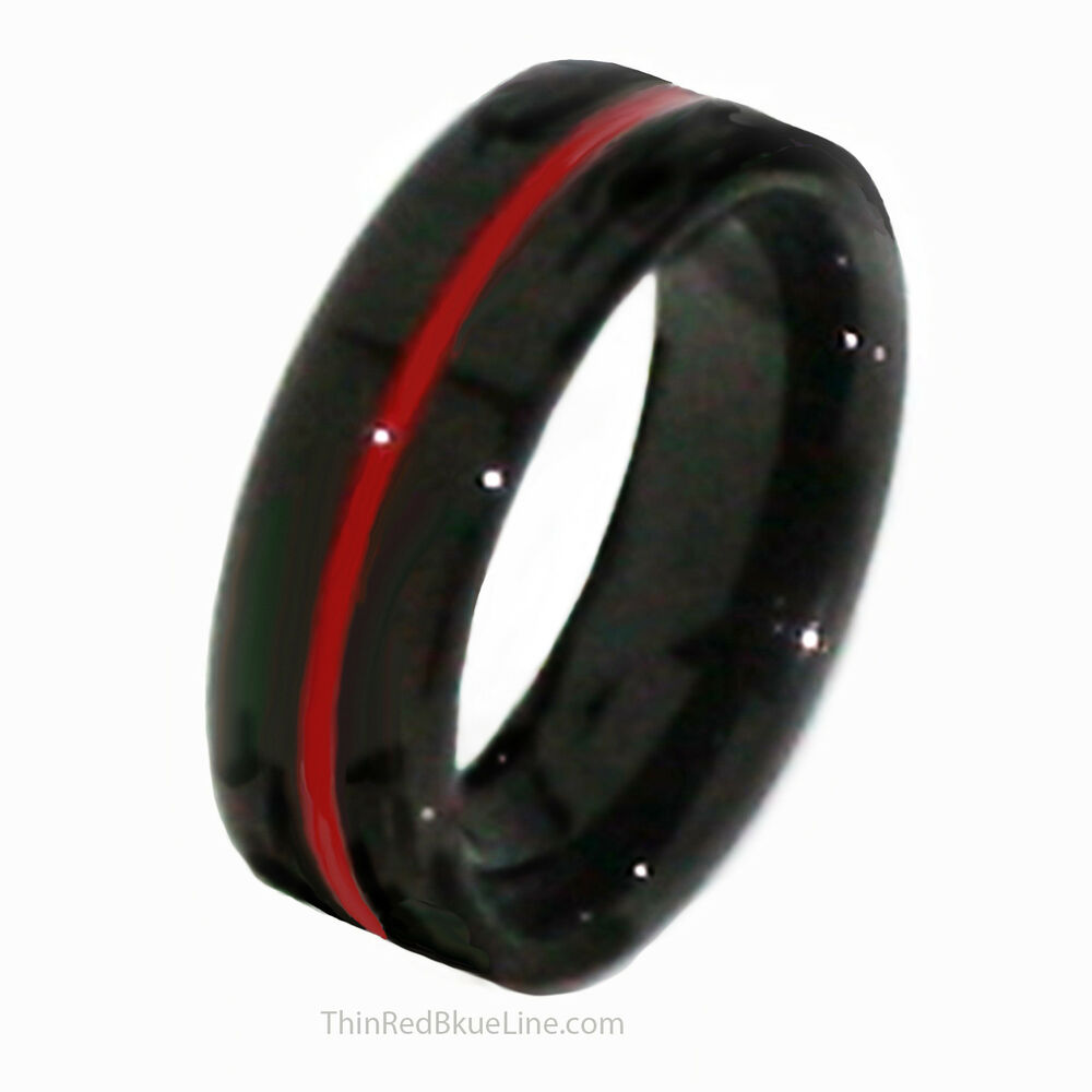Thin Red Line Tungsten Ring 6mm Flat Thin Profile Black Ip