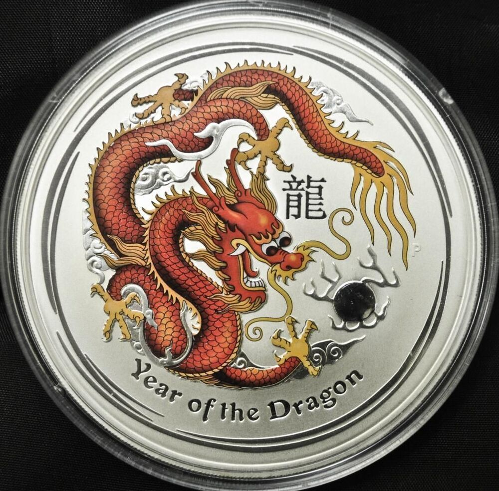2012 Australia 10 Oz Silver Lunar Dragon Coloured Ebay