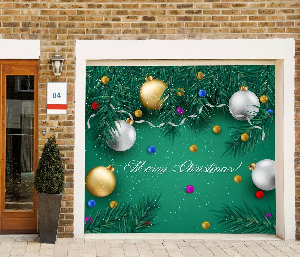 Christmas single garage door covers banner holiday outdoor for Ebay decorations home