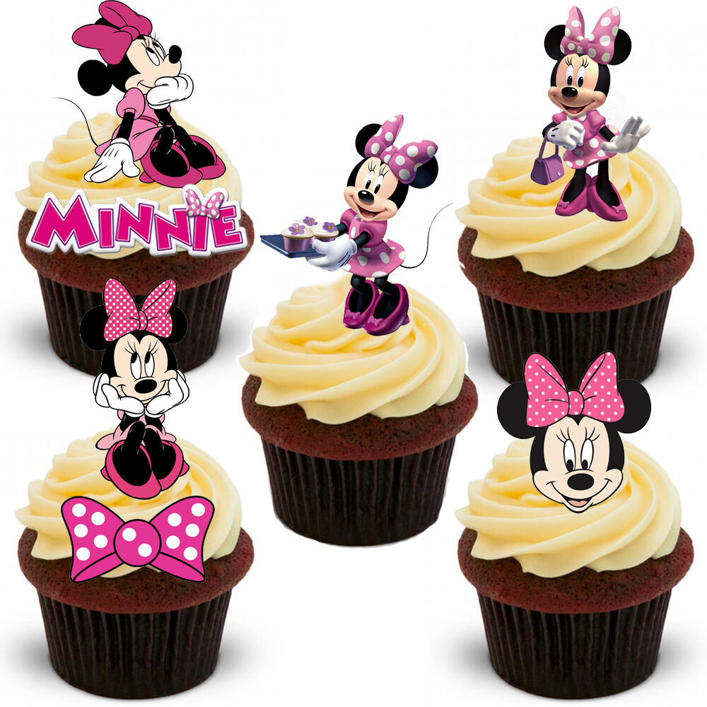 18 Stand Up Pink Minnie Mouse Edible Wafer Paper Cupcake Cake