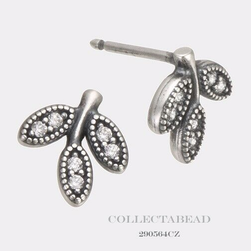 Pandora Silver Stud Earrings: Authentic Pandora Sterling Silver Sparkling Leaves Stud CZ