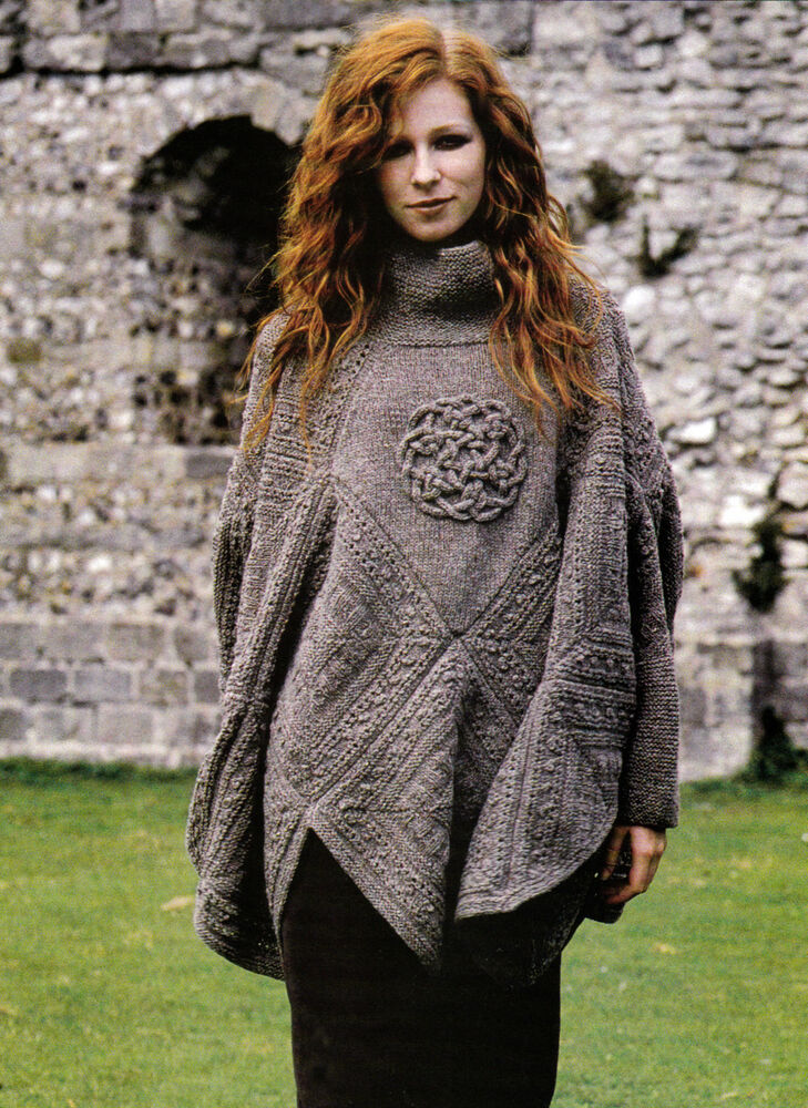 Knitting Pattern For Cape With Sleeves : KNITTING PATTERN 9104 LADYS PONCHO with Sleeves & Celtic Knot iCord ...
