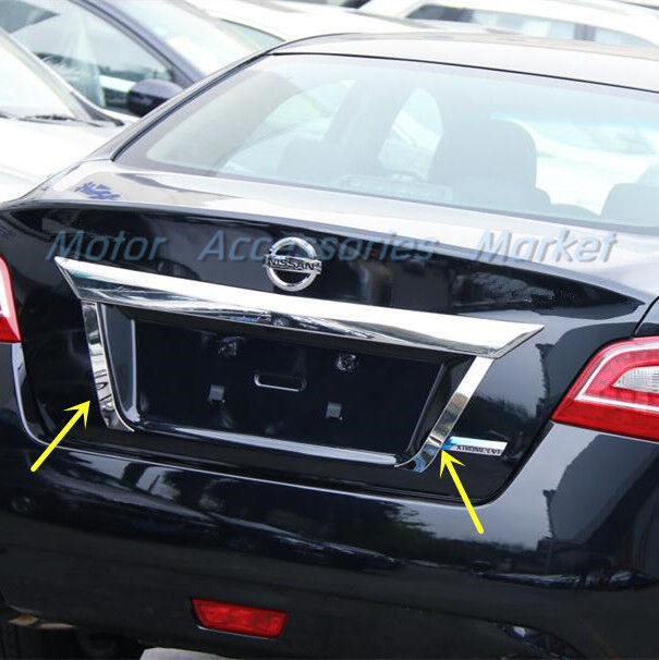 S Steel Chrome Rear Trunk License Plate Trim For Nissan