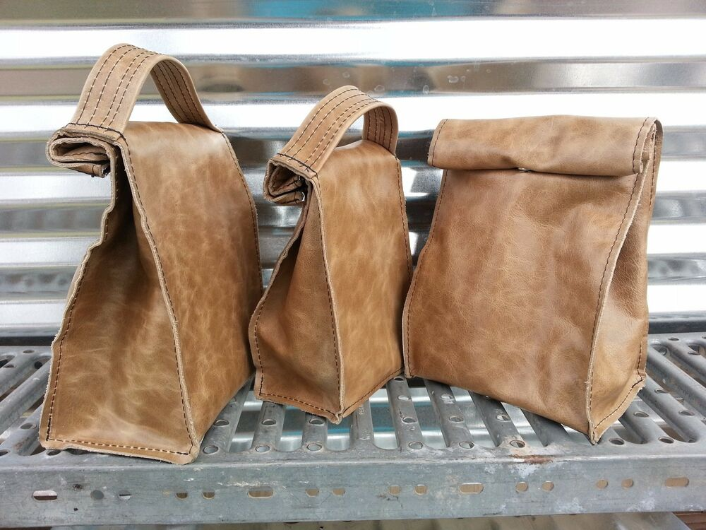 Insulated Leather Lunch Bag Leather Paper Bag Ebay