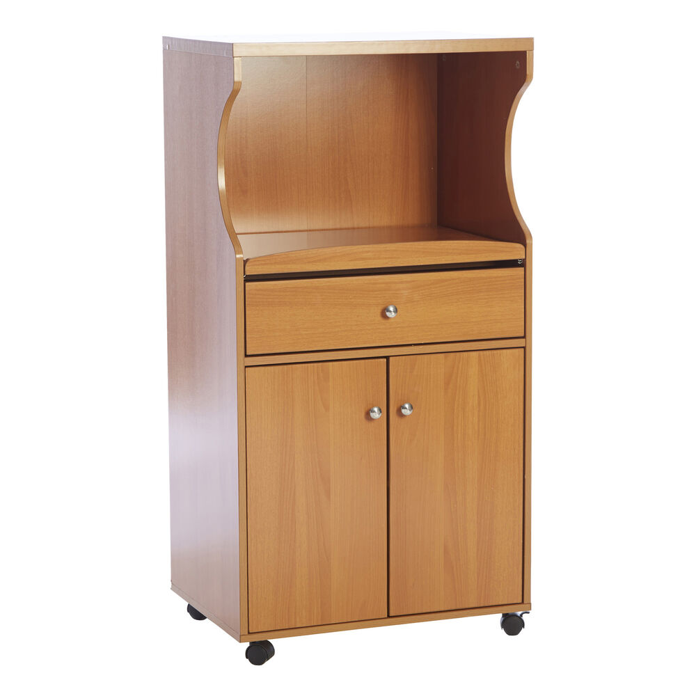Kitchen Island Storage Cabinet Wood Top Cupboard Portable: Rolling Microwave Cart Kitchen Portable Island Storage